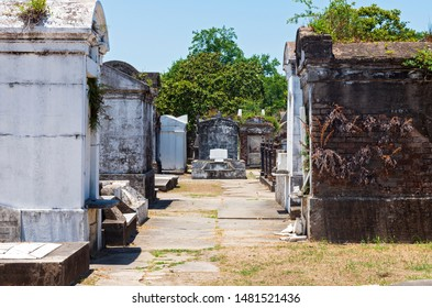 mausoleums and tombs at historic cemetery in new orleans louisiana