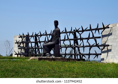 MAUTHAUSEN, AUSTRIA - JULY 18: Artwork in NS concentration camp , a holocaust memorial from WWII in Upper Austria, on July 18, 2018 in Mauthausen, Austria