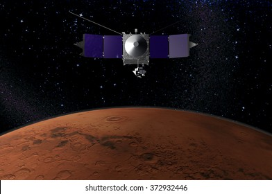 MAVEN - space probe designed to study the Martian atmosphere while orbiting Mars - 3d render - elements of this image furnished by NASA.