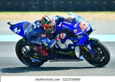 Maverick Vinales no.25 of Spain and Movistar Yamaha MotoGP in action during the Free Practice The PTT Thailand Grand Prix - MotoGP at Chang International Circuit on October 6,2018 in Burirum ,Thailand