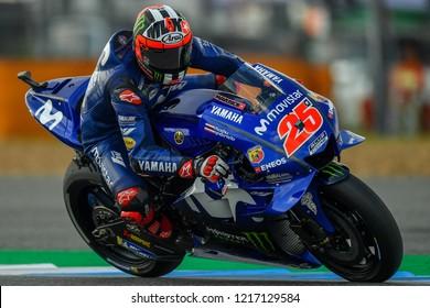 Maverick Vinales no.25 of Spain and Movistar Yamaha MotoGP in qualifying during The PTT Thailand Grand Prix - MotoGP at Chang International Circuit on October 6, 2018 in Burirum ,Thailand