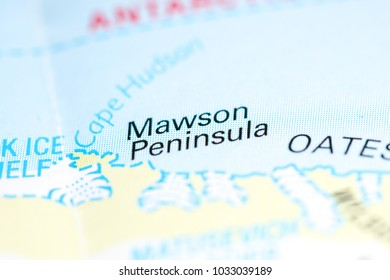 Mawson Peninsula. Antarctica on a map