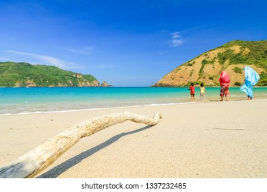 Mawun Beach, Lombok island, Indonesia - May 02, 2018: Tourist visiting Mawun Beach, a hidden paradise in Lombok Island, West Nusa Tenggara, Indonesia.