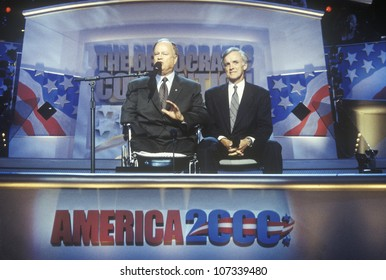 Max Cleland and Senator Bob Kerry address the crowd at the 2000 Democratic Convention at the Staples Center, Los Angeles, CA