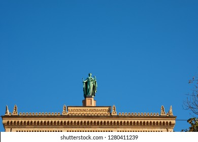 Maxillianeum munich bavaria building with bronce statue