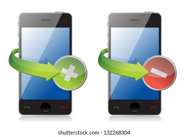 maximize and close phone icons illustration design over white