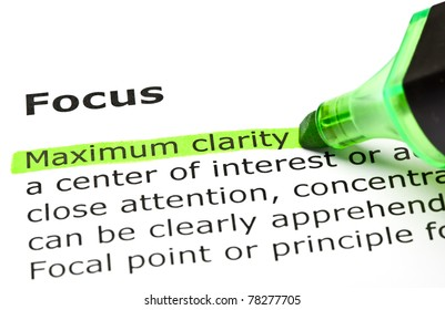Maximum clarity highlighted in green, under the heading Focus.