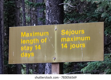 Maximum length of stay 14 days sign.