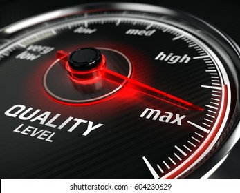 Maximum Quality concept - quality level meter - 3d rendering