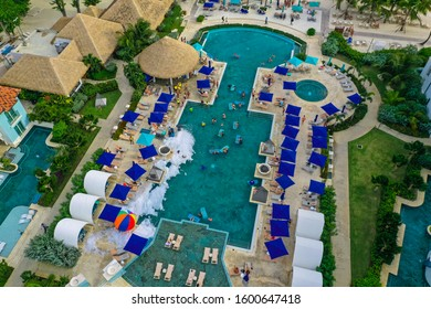Maxwell Gardens, Oistins / Barbados - December 25, 2019: Aerial drone photos of Sandals Royal Barbados luxury resort and the surrounding beaches and clear blue water