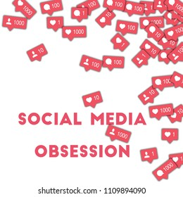 MAY 01, 2017: Social media obsession. Social media icons in abstract shape background with counter, comment and friend notification. Social media obsession concept in nice illustration.