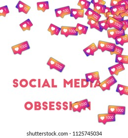 MAY 01, 2018: Social media obsession. Social media icons in abstract shape background with gradient counter. Social media obsession concept in radiant illustration.