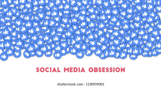MAY 01, 2018: Social media obsession. Social media icons in abstract shape background with scattered thumbs up. Social media obsession concept in gorgeous illustration.