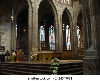 May 01 2019 Prague Czech Republic Stained glass Windows in St.Vitus Cathedral within the castle. This Gothic cathedral is the largest in the country. Alphonse Mucha's Art Nouveau window is outstanding