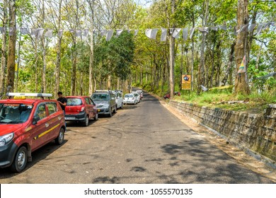 May 01,2017. Tourists vehicles parking on the roadside at Kalimpong, India.