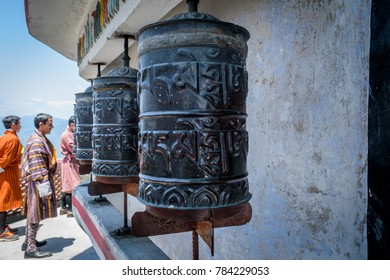 May 02,2017. Prayer wheels, at selective focus, at Zang Dhok Palri Phodang, a Buddhist monastery in Kalimpong in West Bengal, India.