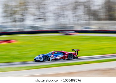 May 04, 2018 - Lexington, Ohio, USA: The Chip Ganassi Racing Ford GT races through the turns at the Acura Sports Car Challenge at Mid Ohio Sports Car Course in Lexington, Ohio.