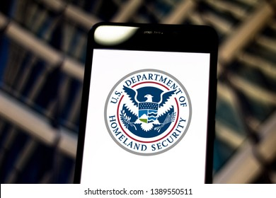 May 05, 2019, Brazil. In this photo illustration the United States Department of Homeland Security (DHS) logo is displayed on a smartphone.
