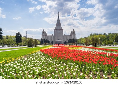 May 06, 2019 - Moscow, Russia: View of the Moscow Lomonosov State University in spring.