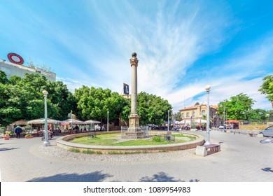 May 08, 2018, Nicosia (Lefkosa), Cyprus, Nicosia Venice Column, in front of the Palace 'Sarayonu' , Ataturk Square