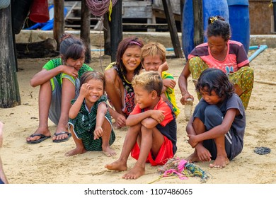 May 1 2018 - Myei Archipelago. Moken (sea nomad) children on island in the archipelago