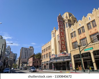 May 1, 2018 - Oakland, California: Uptown Neighborhood of Oakland, California. Uptown is the art and entertainment center of Oakland featuring many bars, cafes, restaurants and love music venues.