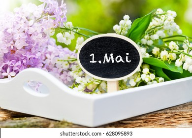 May 1, label with Lily of the Valley and lilac