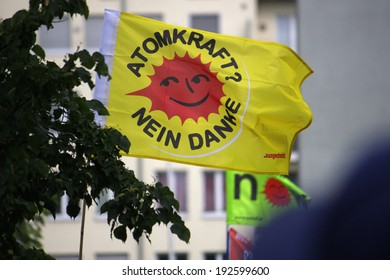 """MAY 10, 2014 - BERLIN: """"Atomkraft - nein Danke"""" (Nuclear Power - No Thanks) - impressions from a demonstration for a change in energy policies in Germany."""