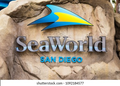 May 10. 2018. SeaWorld San Diego Sign, California, USA. Sea World San Diego is an animal theme park, oceanarium, outside aquarium, marine mammal park, inside the city's Mission Bay Park.