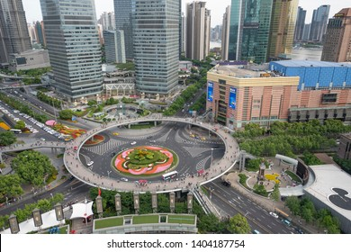 MAY 10, 2019: Image of Shanghai cityscape: Shanghai Tower,Shanghai World Financial Center,Jin Mao Tower and Lujiazui ring road in Pudong, Shanghai, China