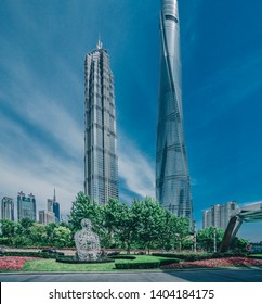 MAY 10, 2019: Image of Shanghai's most famous towers: Shanghai Tower and Jin Mao Tower. Pudong. Shanghai. China