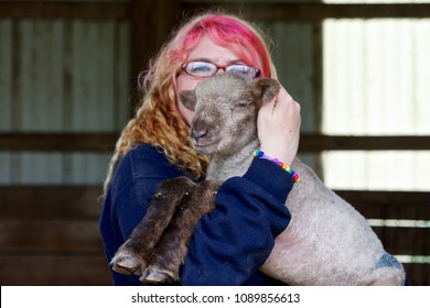 May 11, 2013 - Philadelphia, PA, USA: A student at the W. B. Saul High School for Agricultural Sciences holds a newborn lamb being raised as part of the curriculum.