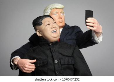 MAY 11 2018: Caricatures of US President Donald Trump taking as selfie with North Korean Supreme Leader Kim Jong Un
