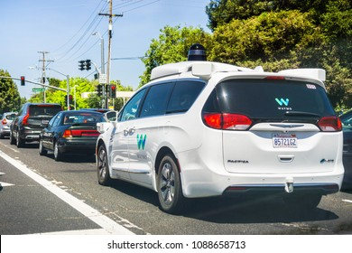 May 11, 2018 Mountain View / CA / USA - Waymo self driving car cruising on the streets of south San Francisco bay area, Silicon Valley