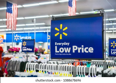 "May 11, 2018 Mountain View / CA/ USA -  Walmart's ""Everyday low price"" tagline posted inside one of their stores"