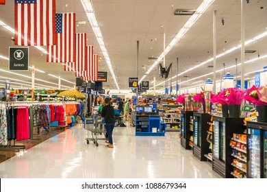 May 11, 2018 Mountain View / CA/ USA - Aisle in one of Walmart's stores in south San Francisco bay area