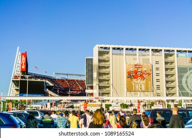 May 11, 2018 Santa Clara / CA / USA - People heading towards the entrance to Levi's Stadium for a Taylor Swift concert, San Francisco bay; the stadium is the home of the San Francisco 49ers of the NHL