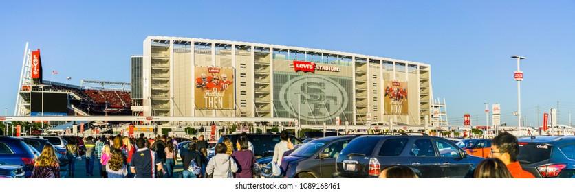 May 11, 2018 Santa Clara / CA / USA - People heading towards the entrance to Levi's Stadium for a Taylor Swift concert, San Francisco bay; the stadium is the home of the San Francisco 49ers of the NHL