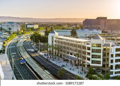 May 11, 2018 Santa Clara / CA / USA - Sunset view of the street and surrounding buildings near Levi's Stadium in south San Francisco bay area