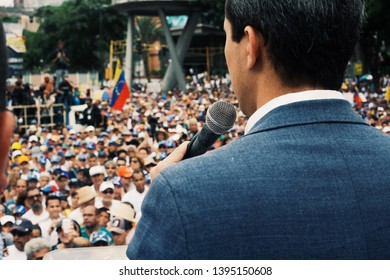 May 11, 2019. Caracas, Venezuela: Juan Guaidó rallies crowds in Caracas in defense of the National Assembly.