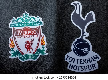 May 11, 2019 Madrid, Spain. Emblems of the finalists of the UEFA Champions League season 2018/2019 FC Liverpool and FC Tottenham Hotspur (London) on a black koan background.