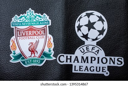 May 11, 2019 Madrid, Spain. Emblem of the finalist of the UEFA Champions League season 2018/2019 FC Liverpool on a black koan background.