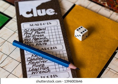 May 11, 2019: Vancouver, B.C. Canada (Editorial) - Clue 1972 - The check list of the game