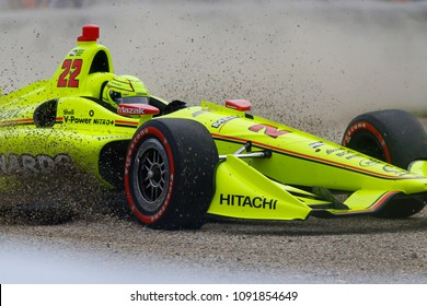May 12, 2018 - Indianapolis, Indiana, USA: SIMON PAGENAUD (22) of France goes for a spin after contact during the IndyCar Grand Prix at Indianapolis Motor Speedway Road Course in Indianapolis, Indiana