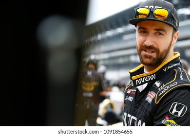 May 12, 2018 - Indianapolis, Indiana, USA: JAMES HINCHCLIFFE (5) of Canada hangs out on pit road before the warmup session for the IndyCar Grand Prix at Indianapolis Motor Speedway