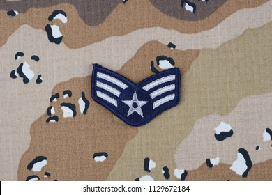 May 12, 2018. US AIR FORCE Senior Airman rank patch on desert camouflage uniform