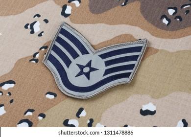 May 12, 2018. US AIR FORCE Staff Sergeant rank patch on Desert Battle Dress Uniform