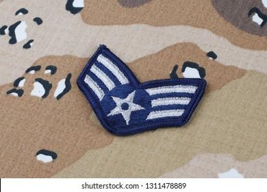 May 12, 2018. US AIR FORCE Senior Airman rank patch on Desert Battle Dress Uniform