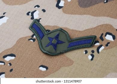 May 12, 2018. US AIR FORCE Airman rank patch on Desert Battle Dress Uniform