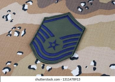 May 12, 2018. US AIR FORCE Master Sergeant rank patch on Desert Battle Dress Uniform